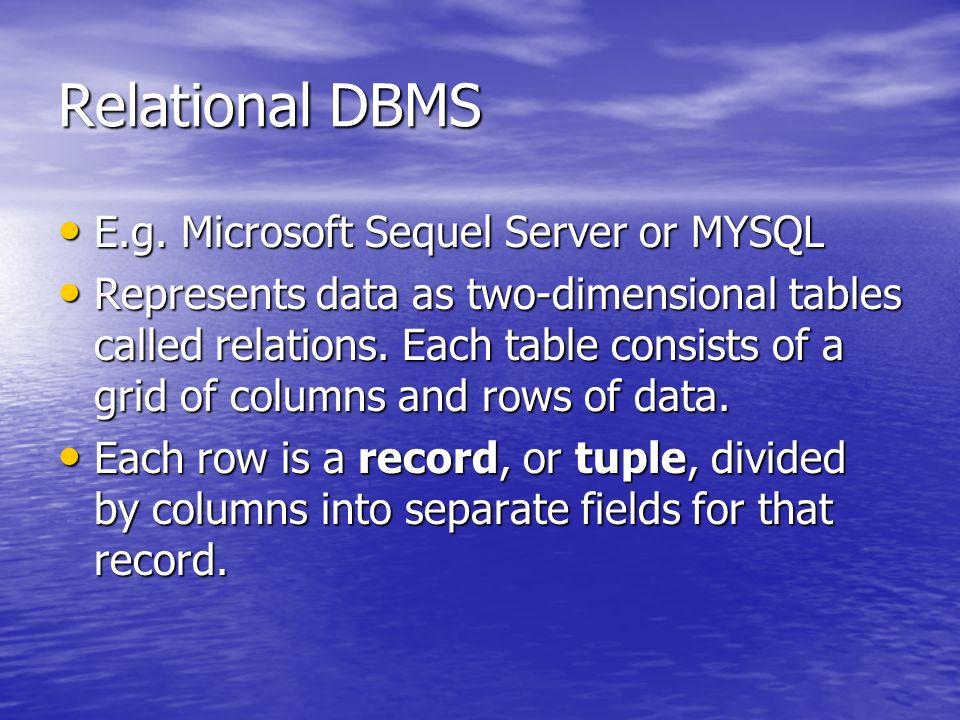 Relational DBMS E.g. Microsoft Sequel Server or MYSQL