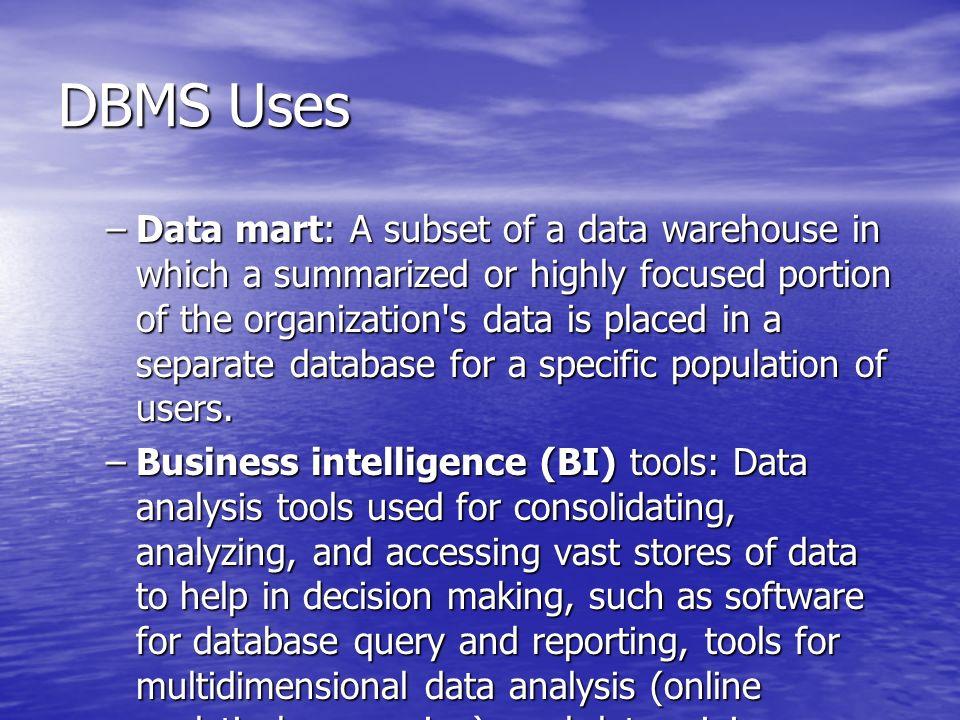 DBMS Uses