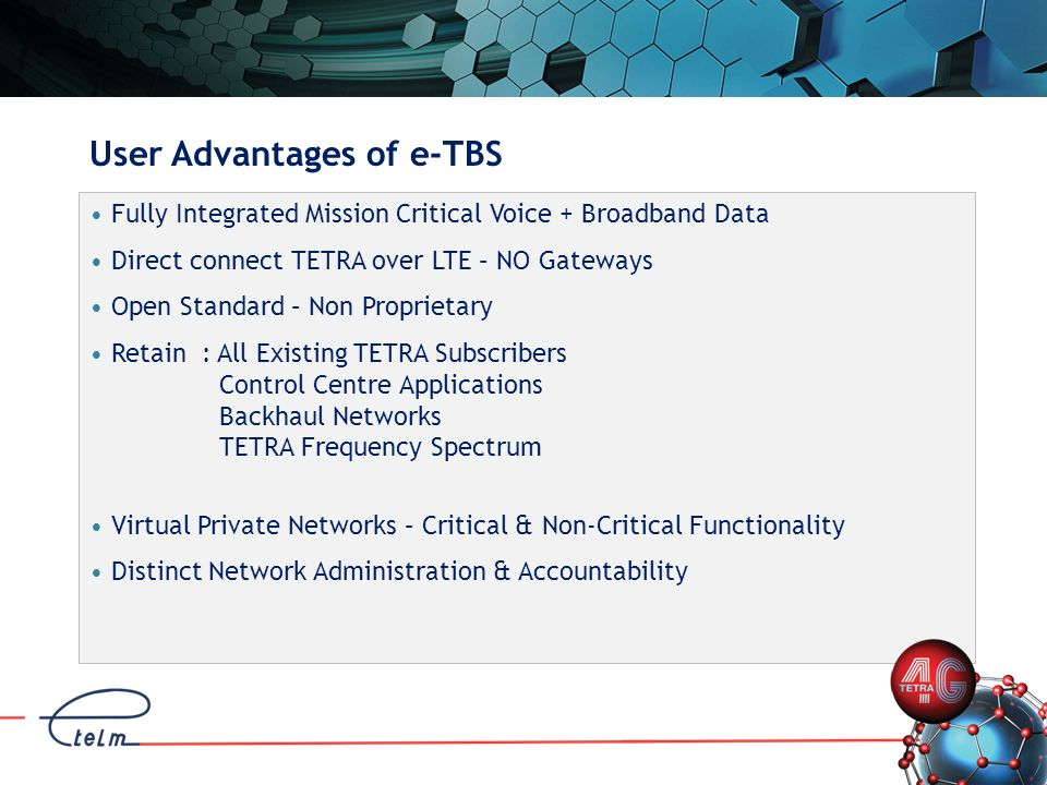User Advantages of e-TBS