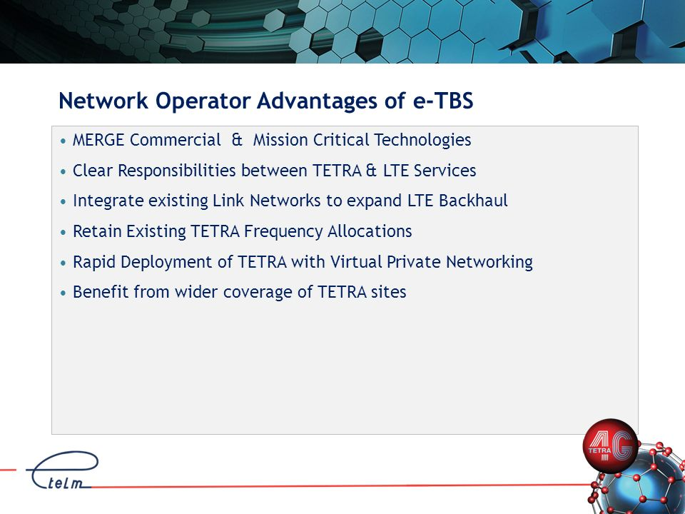 Network Operator Advantages of e-TBS