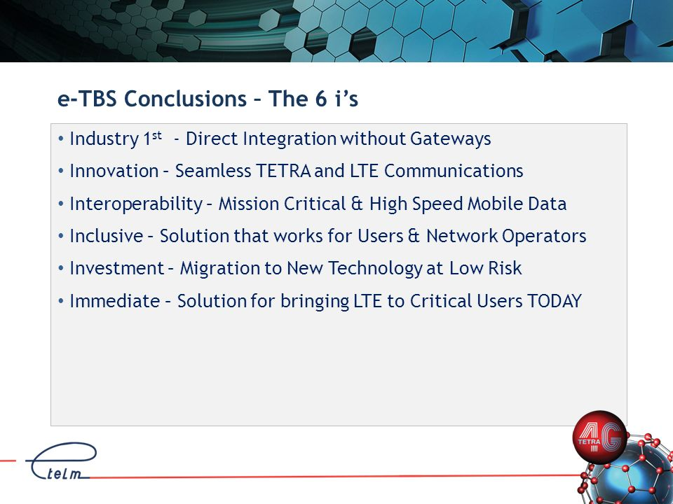 e-TBS Conclusions – The 6 i's