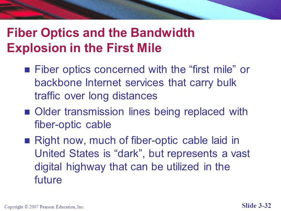 Fiber Optics and the Bandwidth Explosion in the First Mile