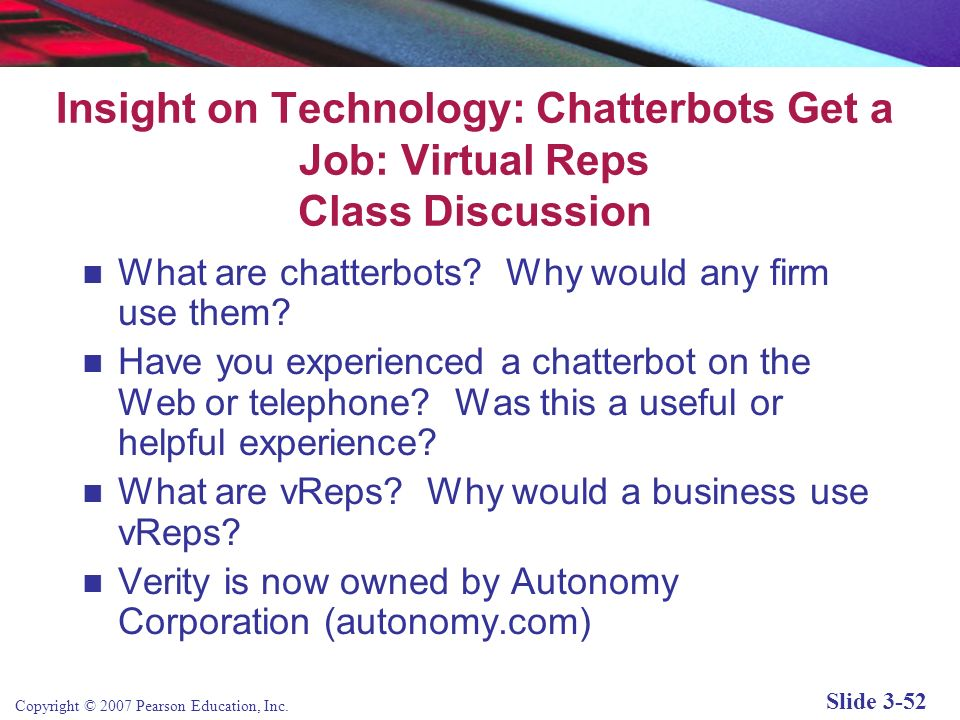 Insight on Technology: Chatterbots Get a Job: Virtual Reps Class Discussion