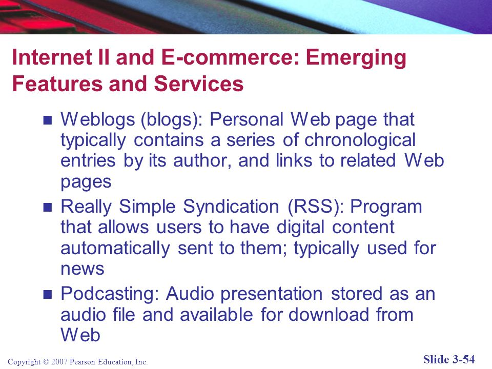Internet II and E-commerce: Emerging Features and Services