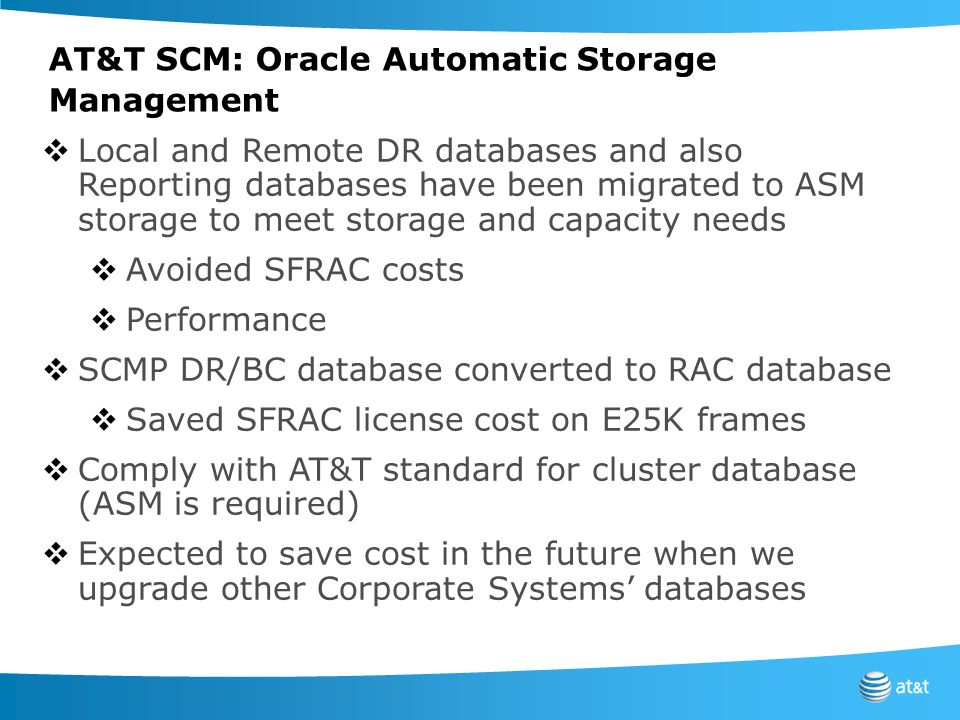 AT&T SCM: Oracle Automatic Storage Management