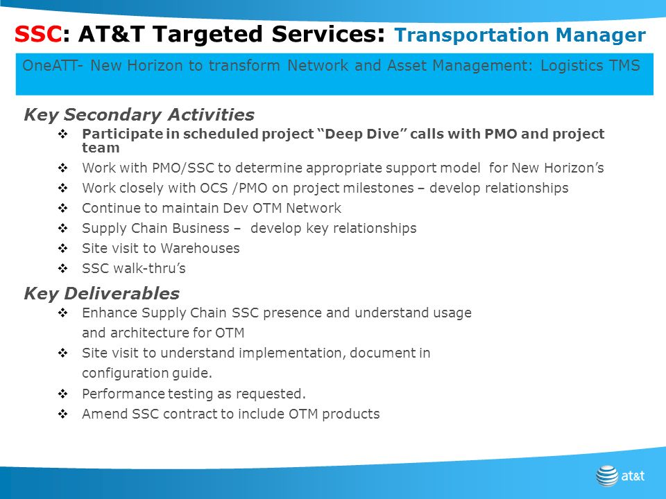 SSC: AT&T Targeted Services: Transportation Manager