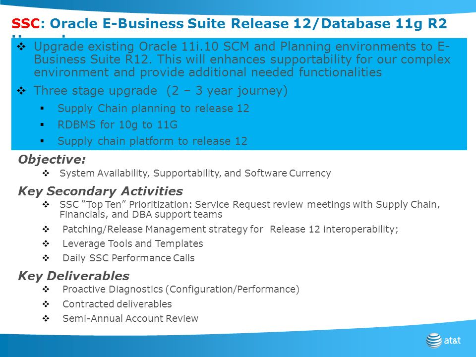 SSC: Oracle E-Business Suite Release 12/Database 11g R2 Upgrade