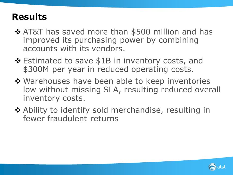 Results AT&T has saved more than $500 million and has improved its purchasing power by combining accounts with its vendors.