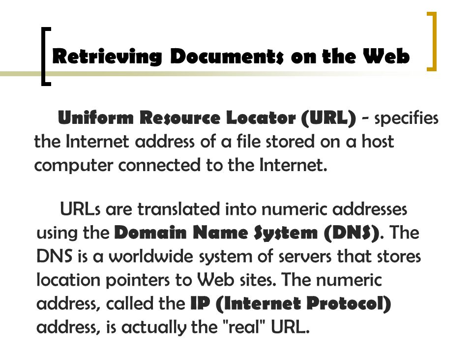Retrieving Documents on the Web