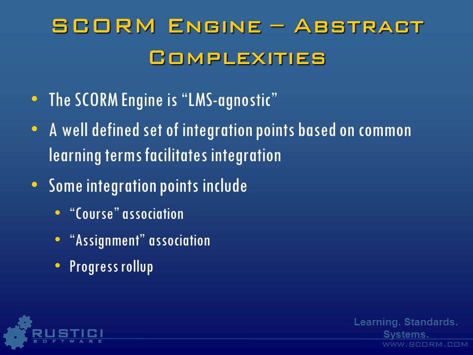 SCORM Engine – Abstract Complexities