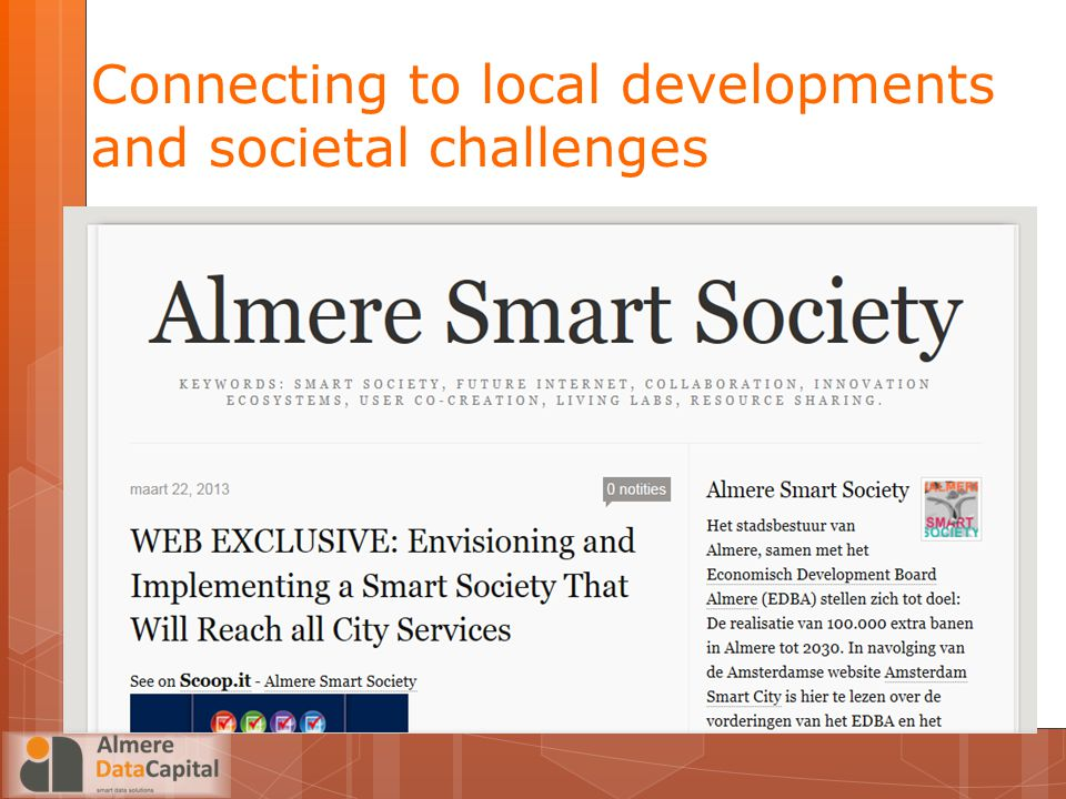 Connecting to local developments and societal challenges