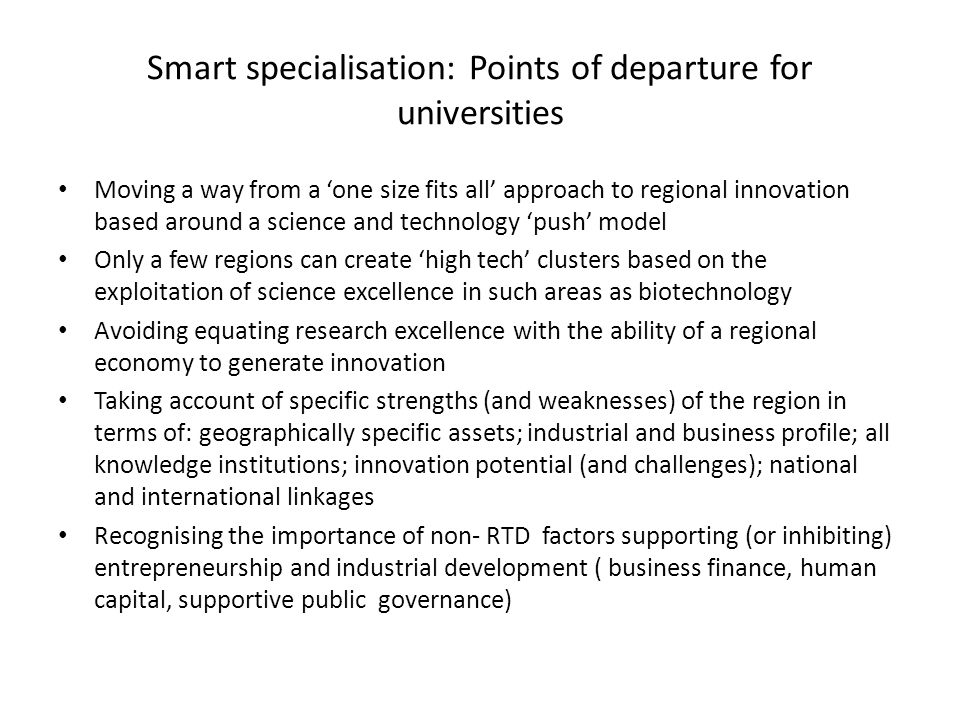 Smart specialisation: Points of departure for universities