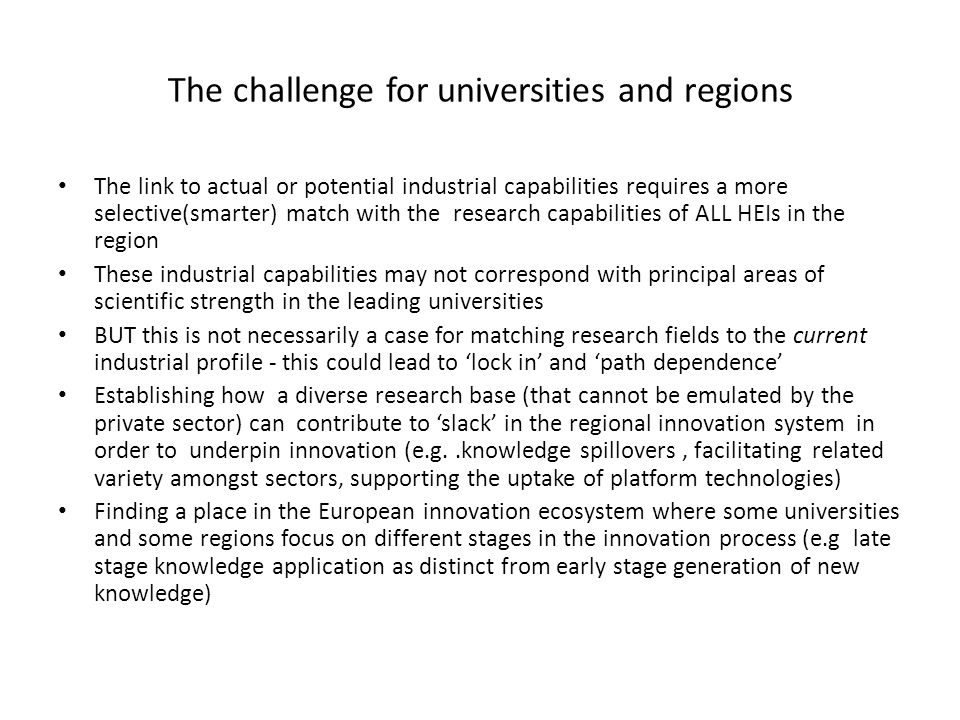 The challenge for universities and regions