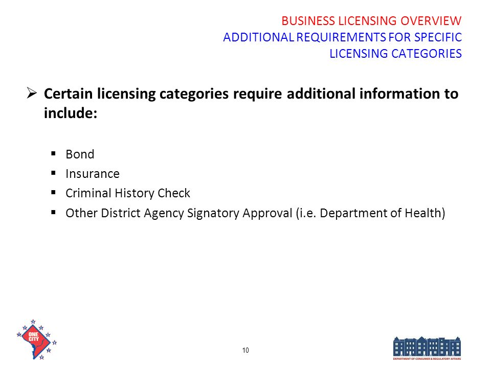 BUSINESS LICENSING OVERVIEW ADDITIONAL REQUIREMENTS FOR SPECIFIC LICENSING CATEGORIES