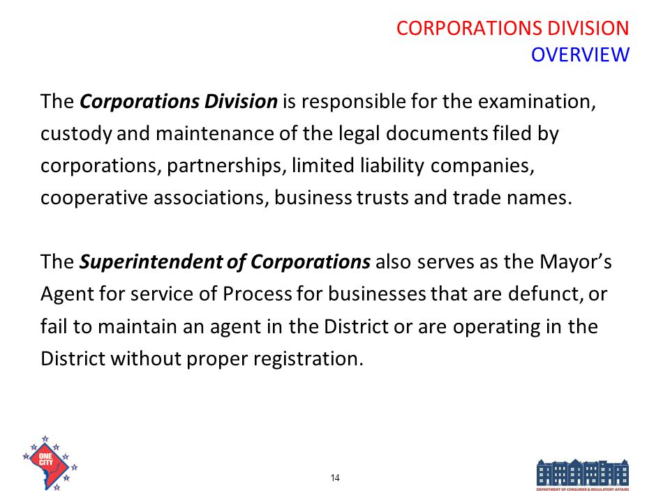 CORPORATIONS DIVISION OVERVIEW