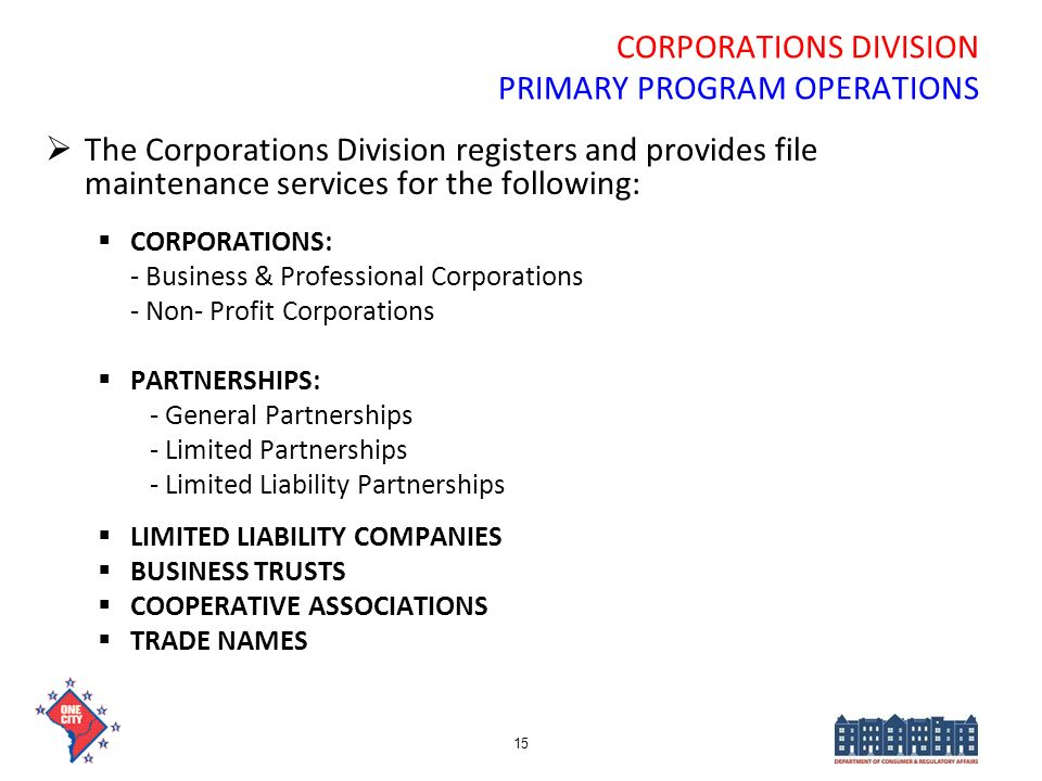 CORPORATIONS DIVISION PRIMARY PROGRAM OPERATIONS
