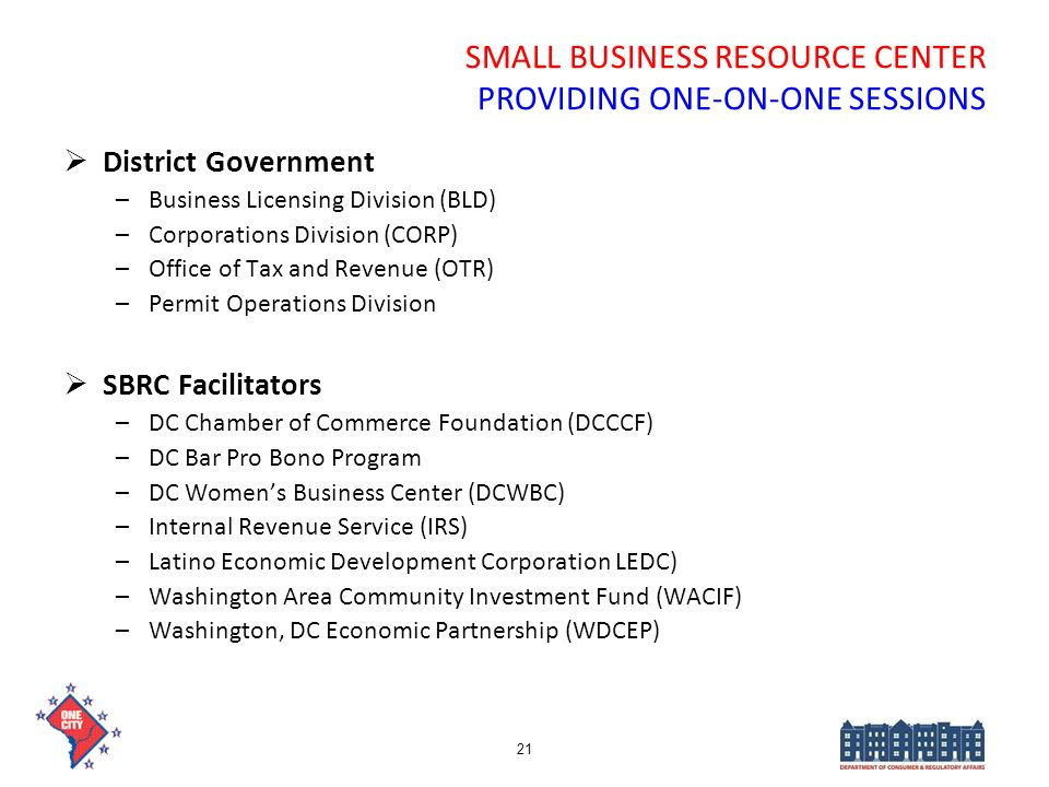 SMALL BUSINESS RESOURCE CENTER PROVIDING ONE-ON-ONE SESSIONS