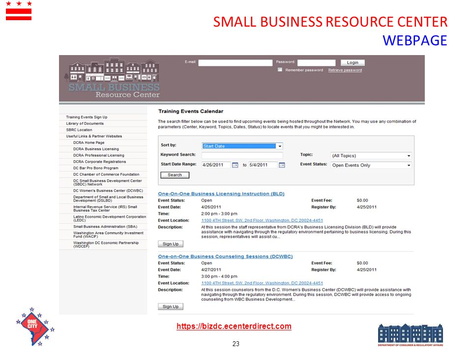 SMALL BUSINESS RESOURCE CENTER WEBPAGE