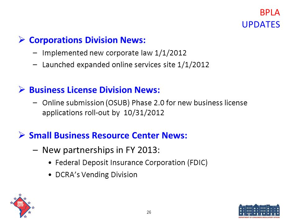 Corporations Division News: