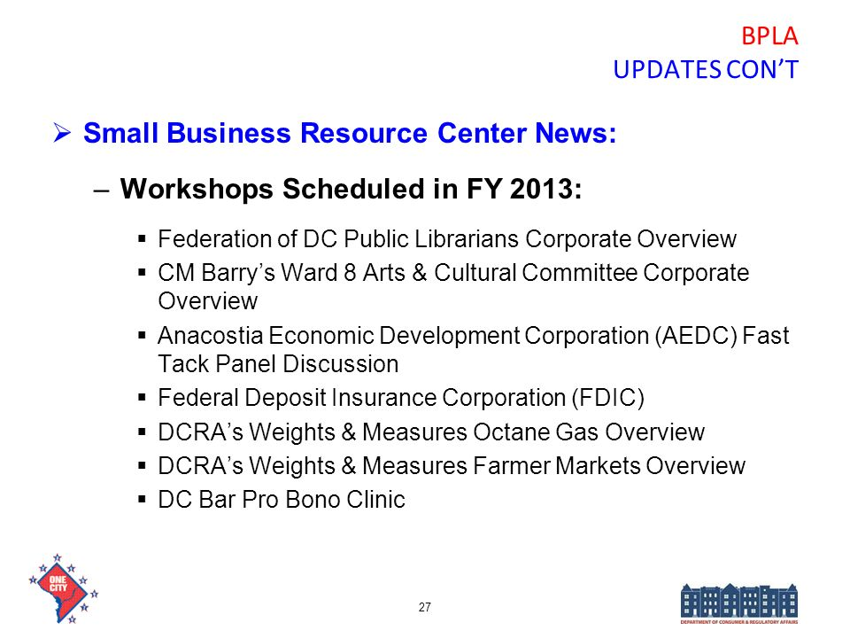Small Business Resource Center News: Workshops Scheduled in FY 2013: