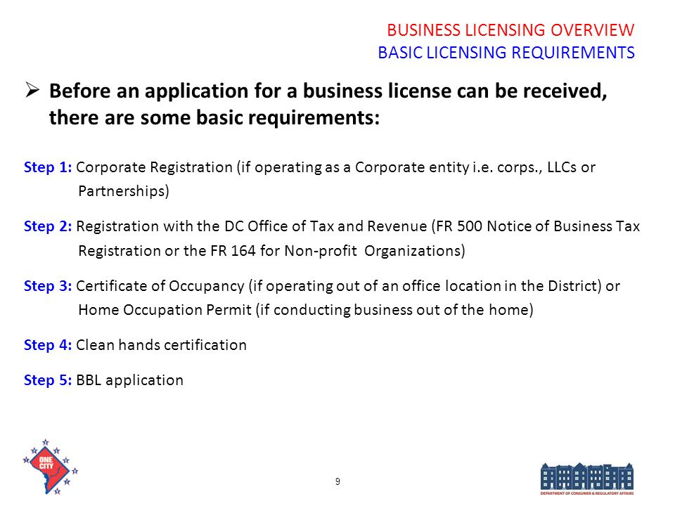 BUSINESS LICENSING OVERVIEW BASIC LICENSING REQUIREMENTS