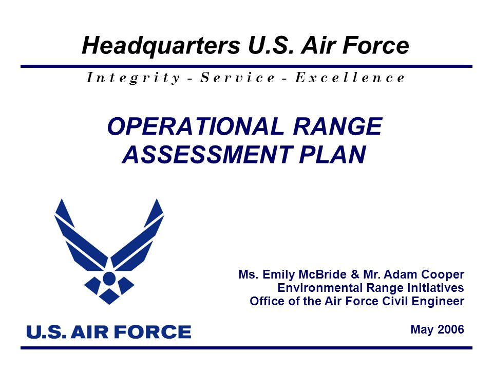 OPERATIONAL RANGE ASSESSMENT PLAN