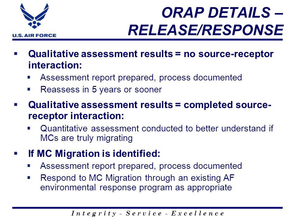 ORAP DETAILS – RELEASE/RESPONSE