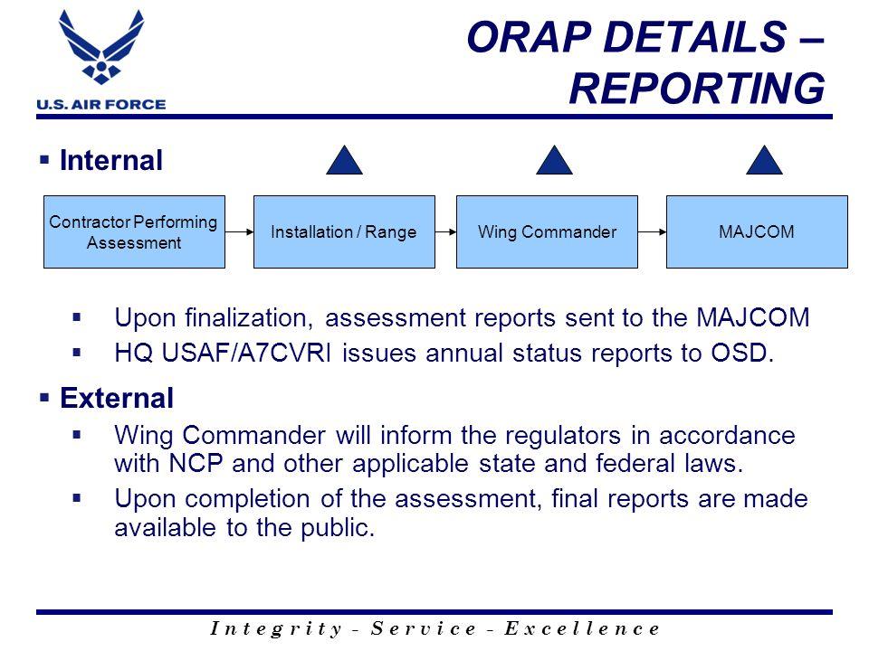 ORAP DETAILS – REPORTING