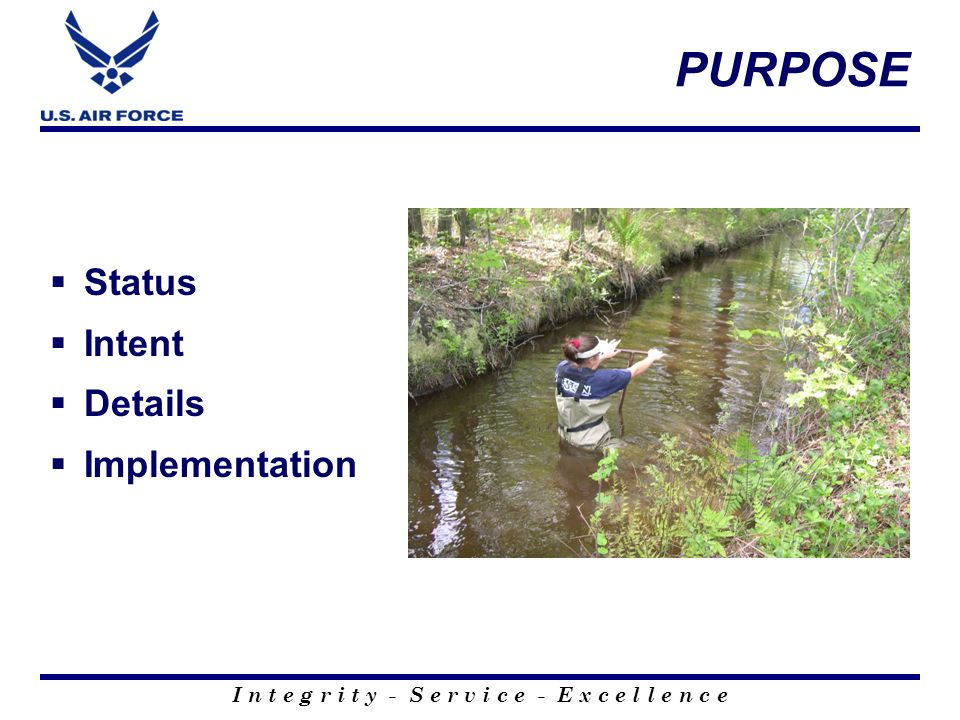 PURPOSE Status Intent Details Implementation