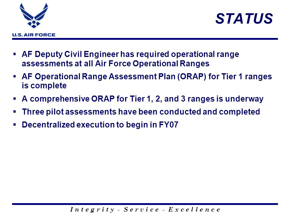 STATUS AF Deputy Civil Engineer has required operational range assessments at all Air Force Operational Ranges.