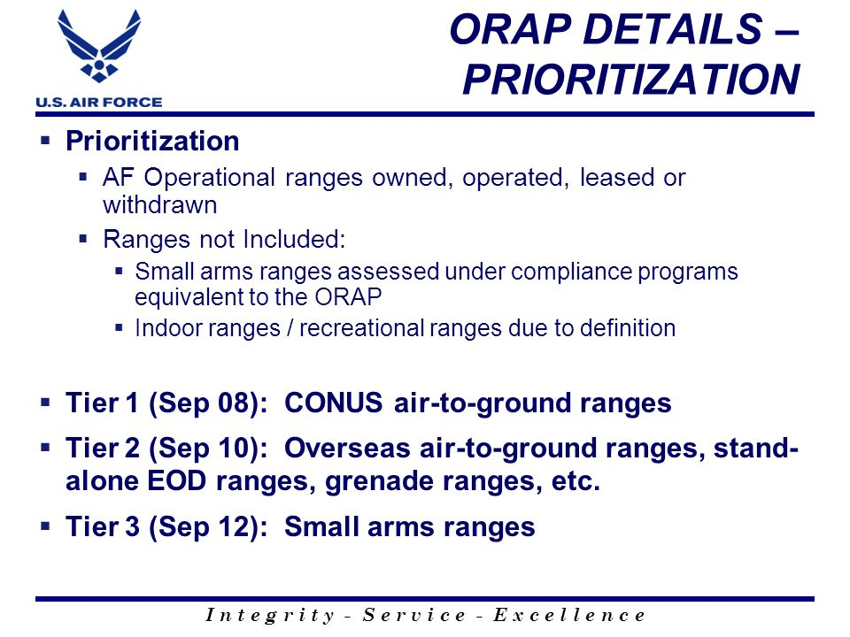 ORAP DETAILS – PRIORITIZATION