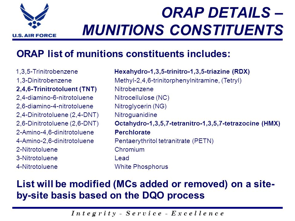 ORAP DETAILS – MUNITIONS CONSTITUENTS