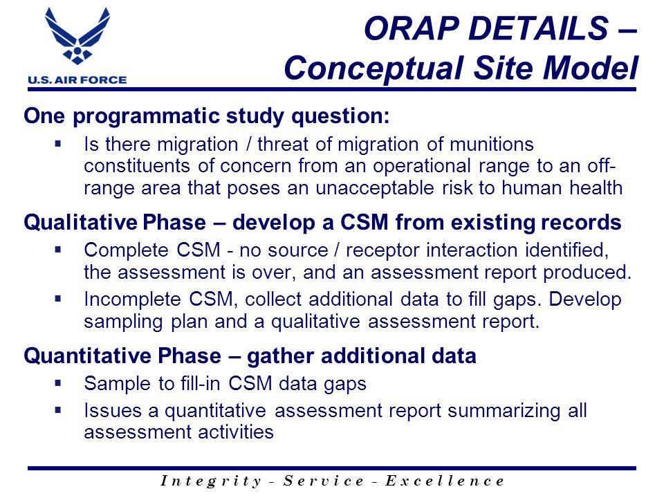 ORAP DETAILS – Conceptual Site Model