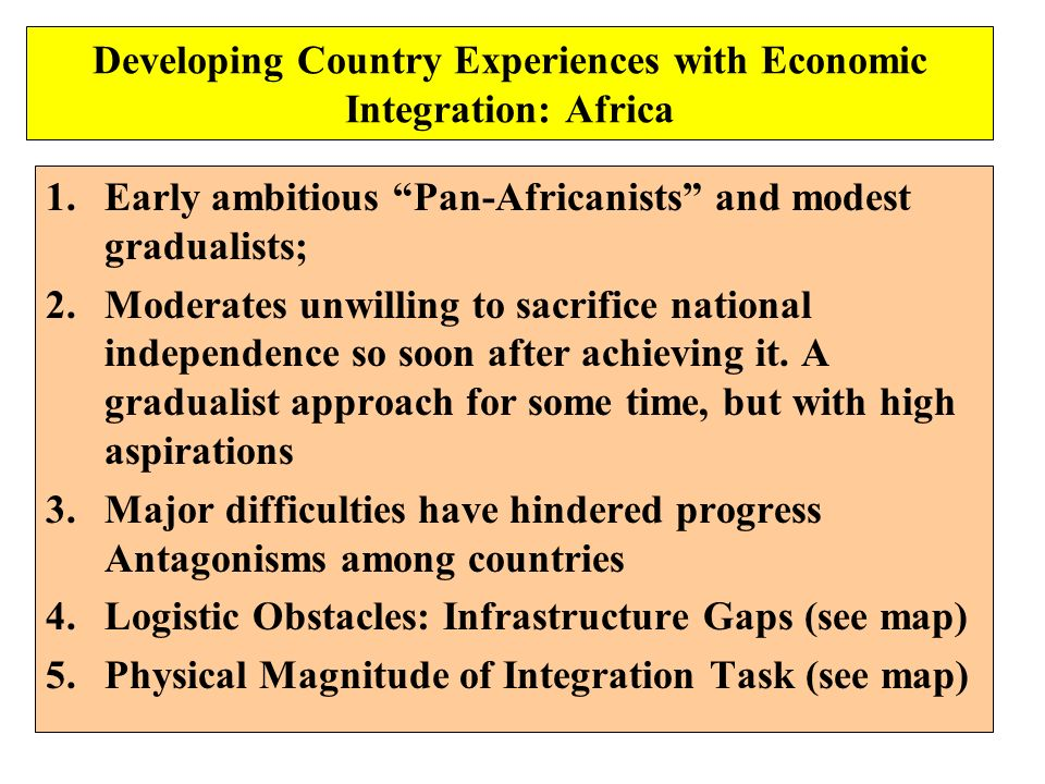 Developing Country Experiences with Economic Integration: Africa