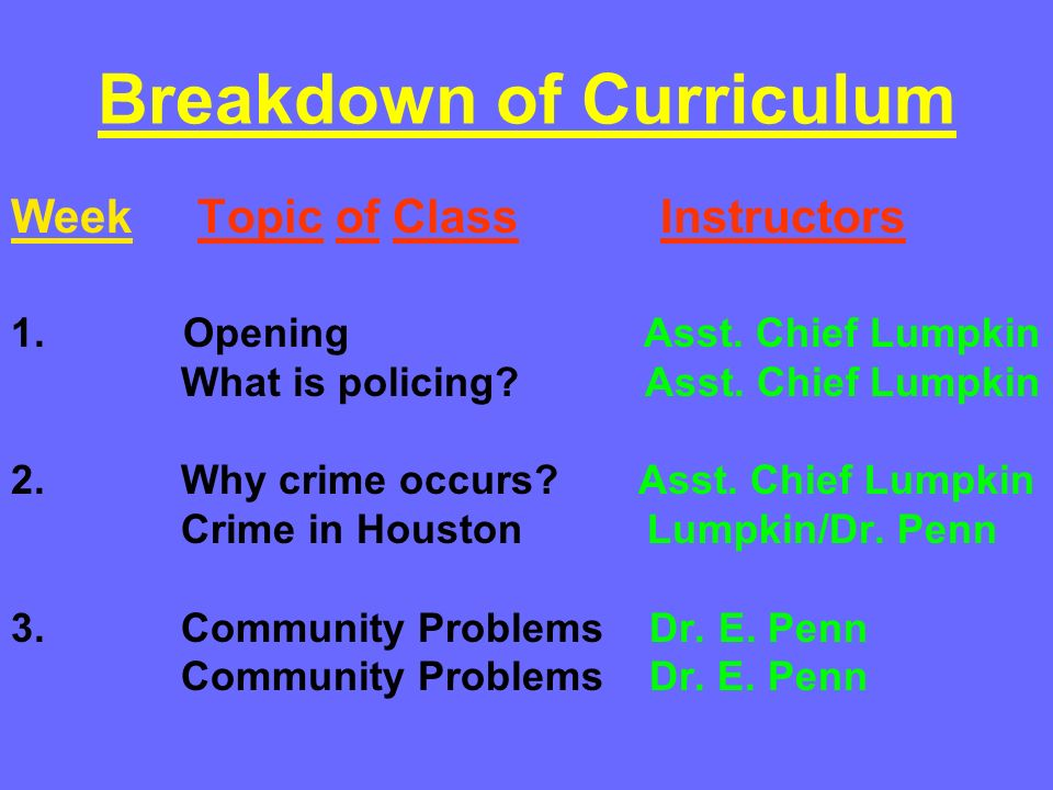 Breakdown of Curriculum