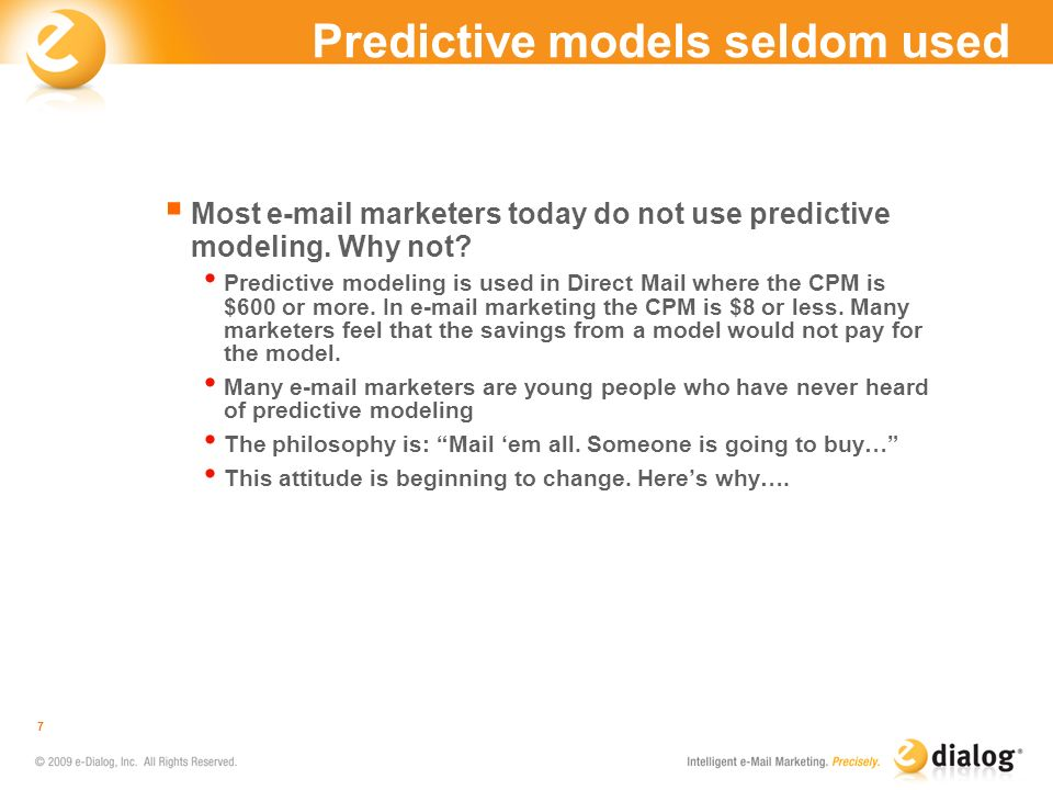 Predictive models seldom used