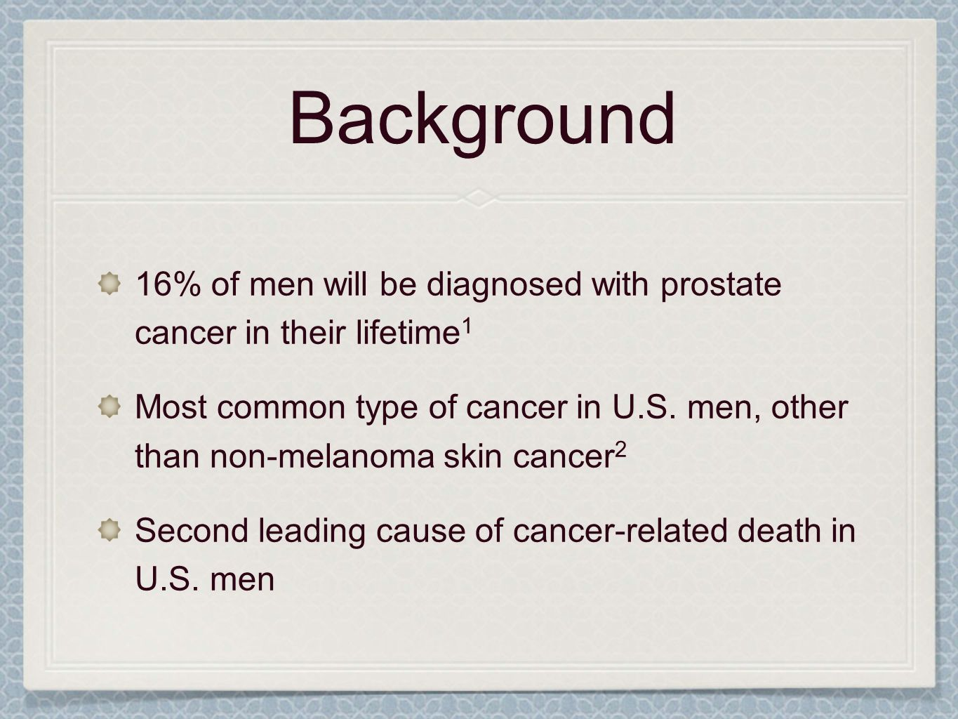 Background 16% of men will be diagnosed with prostate cancer in their lifetime1.