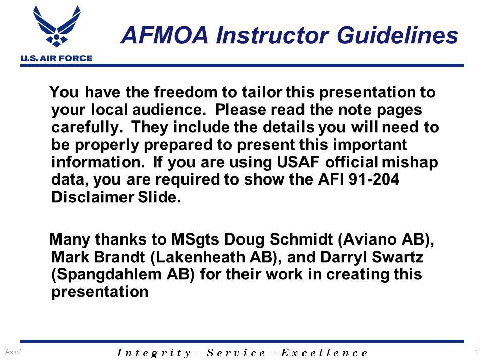 AFMOA Instructor Guidelines