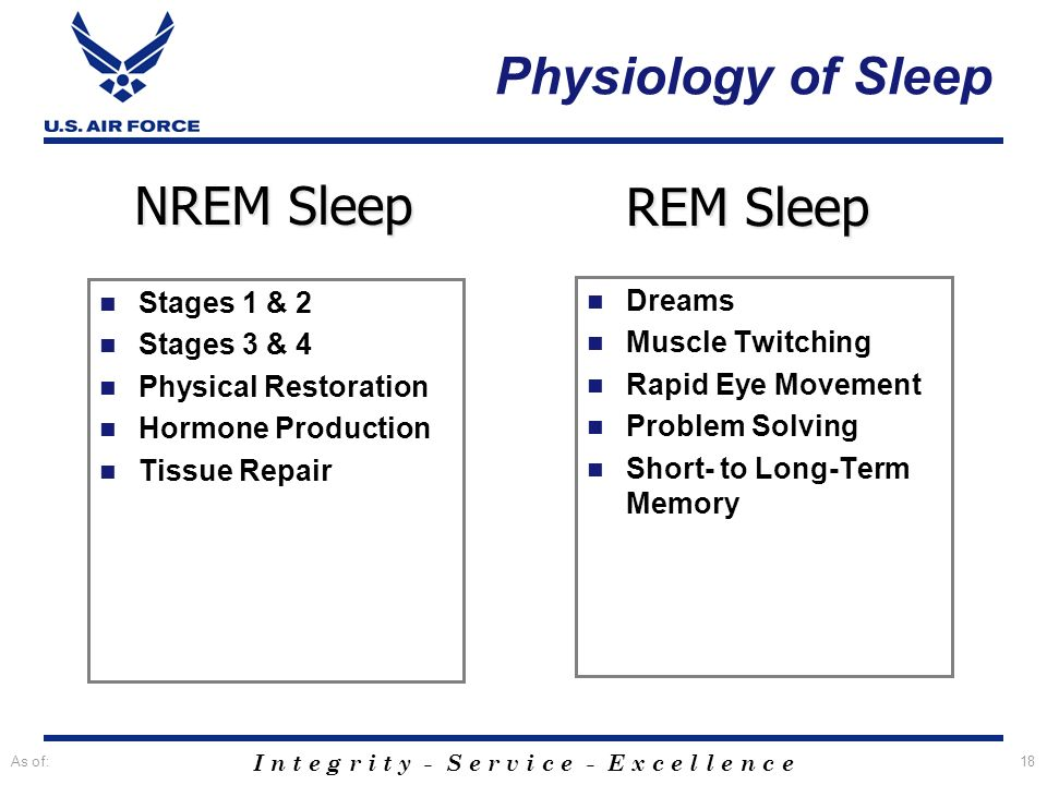 Physiology of Sleep NREM Sleep REM Sleep Stages 1 & 2 Dreams