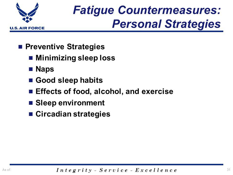 Fatigue Countermeasures: Personal Strategies