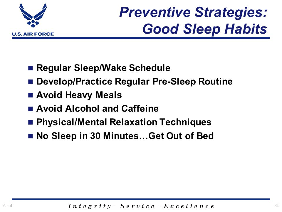 Preventive Strategies: Good Sleep Habits