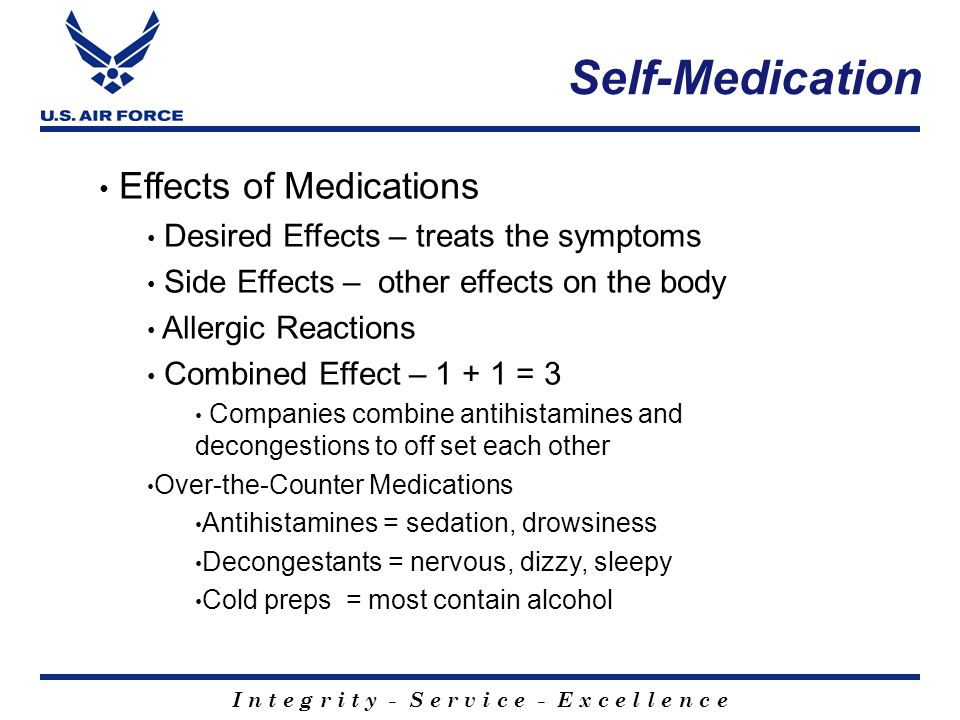 Self-Medication Effects of Medications