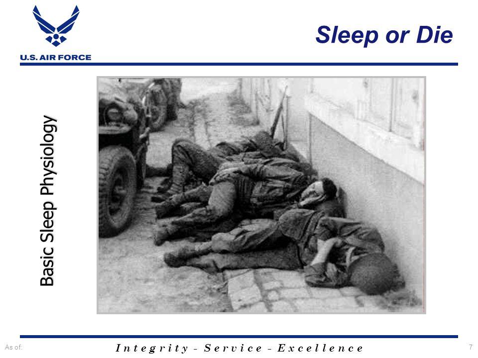Sleep or Die Basic Sleep Physiology As of: Title slide.