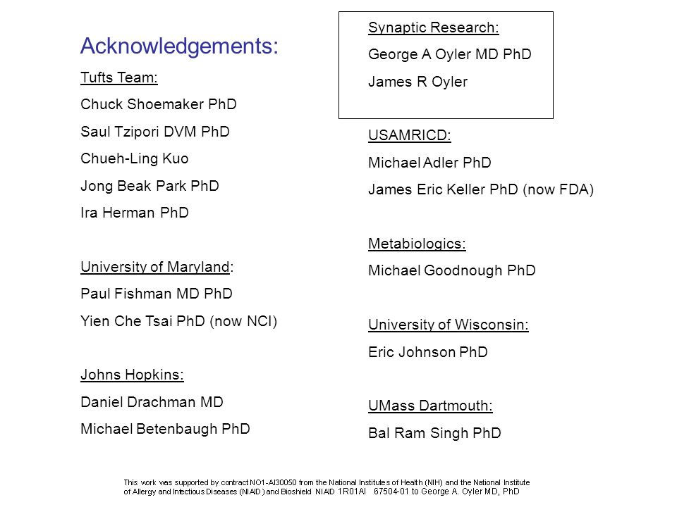 Acknowledgements: Synaptic Research: George A Oyler MD PhD