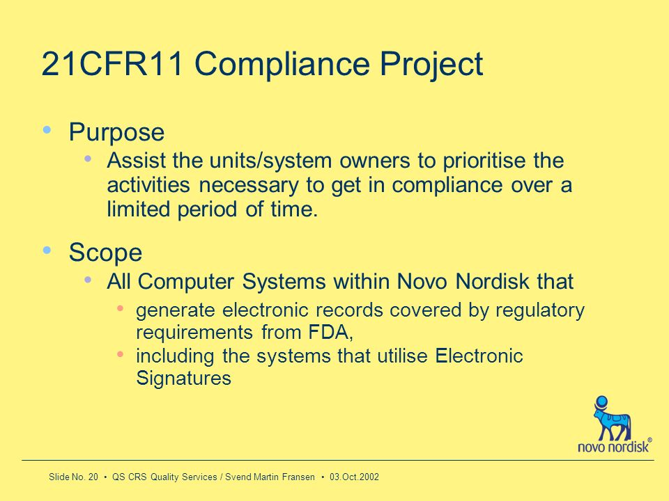 21CFR11 Compliance Project