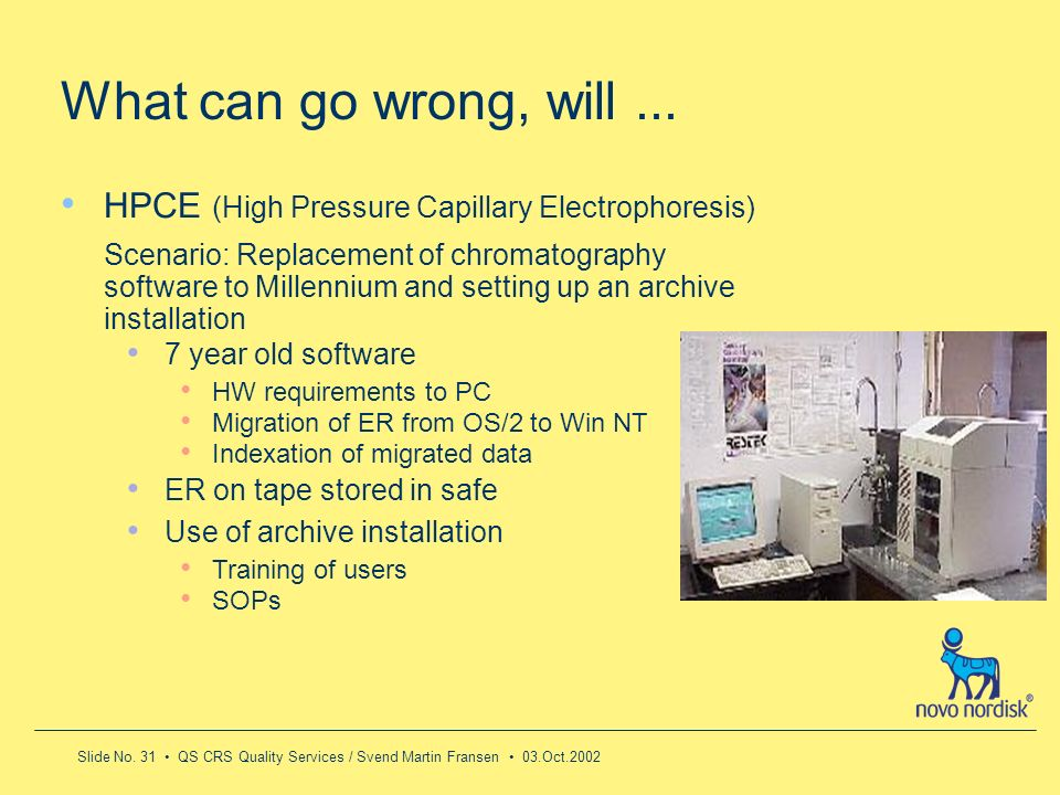 What can go wrong, will ...HPCE (High Pressure Capillary Electrophoresis)