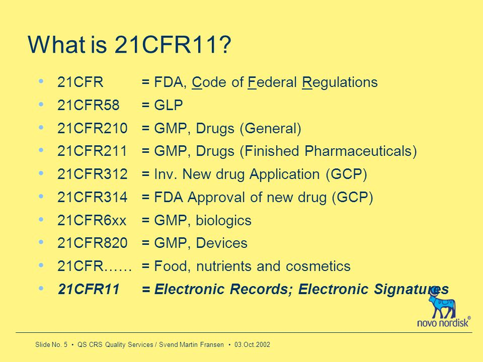 What is 21CFR11 21CFR = FDA, Code of Federal Regulations