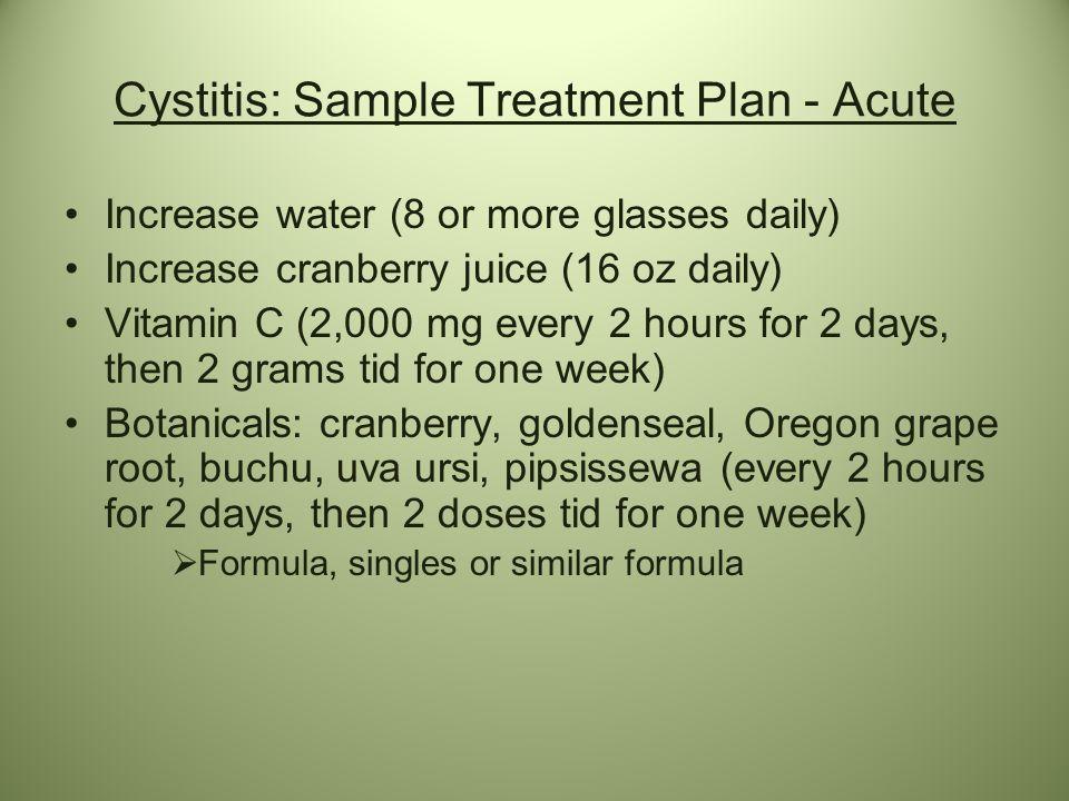 Cystitis: Sample Treatment Plan - Acute