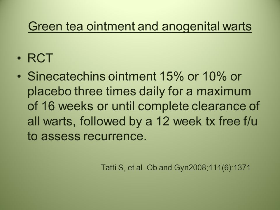 Green tea ointment and anogenital warts