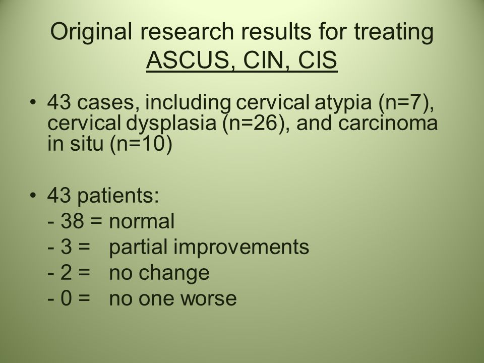 Original research results for treating ASCUS, CIN, CIS